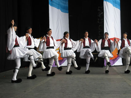 Dancers of the folklore ensemble Estia Pieridon Mousson of Greece