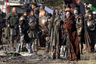 Charlie and Combat International on the set of Thor II